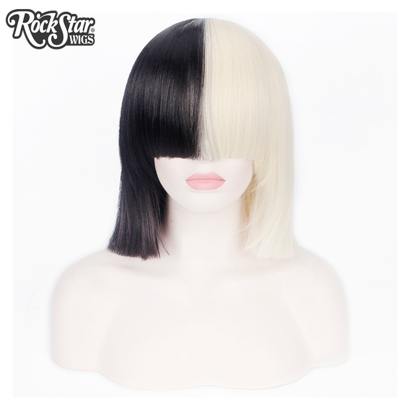 Rockstar Wigs Short Straight Sia Cosplay Wig T Black Blond Color Womens Party Synthetic Hair In None Lace From Extensions On