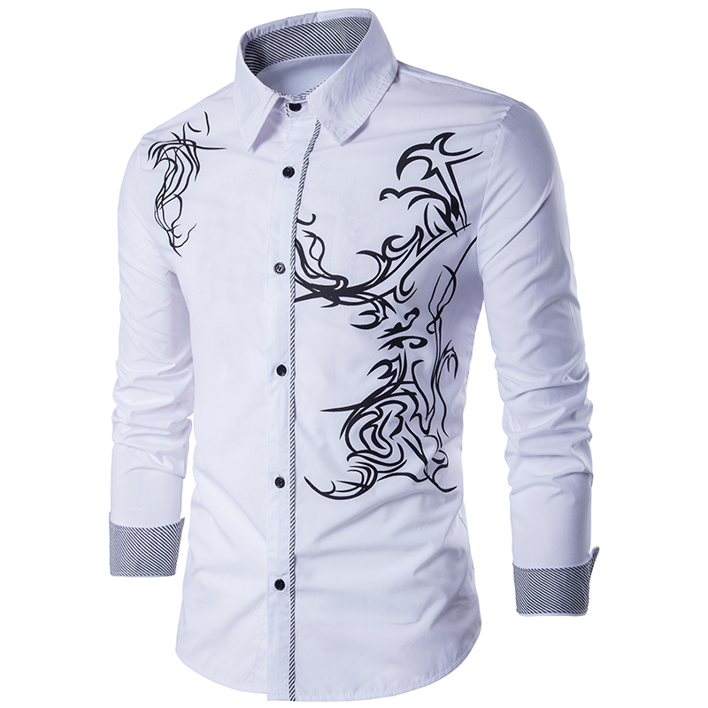 Men Shirt 2019 Spring New Men's Fashion Dragon Print Slim Fit Casual Social Business Long-sleeved Shirt Brand Camisa Masculina