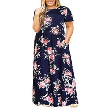 dress women summer Casual women dress plus size 5xl O-Neck Short Sleeve Solid Color Bohemian Beach Long Dress With Pockets L0520