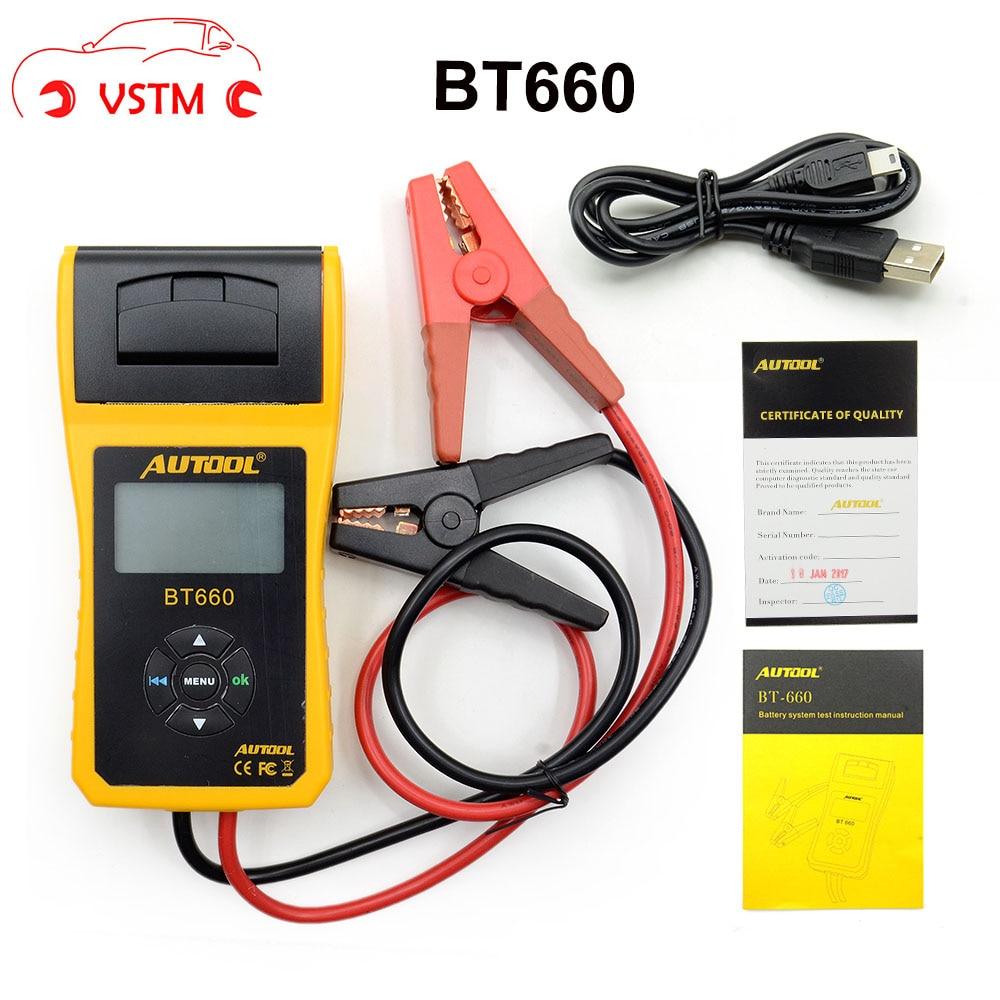 AUTOOL 12V Car Battery Load Tester with printer BT660/Multi-language Digital automotive battery tester CCA100-3000