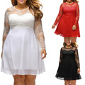 Elegant Lace Autumn Spring women dress big sizes Women A-Line long dresses plus size Mini Hollow Out dress XL-3XL Party vestidos