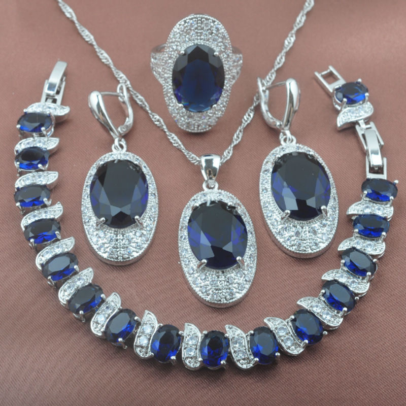 925 Sterling Silver Noble Blue Stone Crystal Womens Jewelry Set Bracelet Necklace Pendant Earrings Ring YZ0301