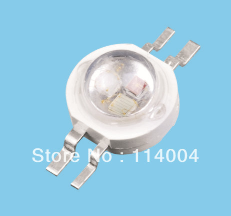 New Wholesale 3watt RGB High Power LED Lamp four feet LED 38mil with CE&ROCHS  free shipping