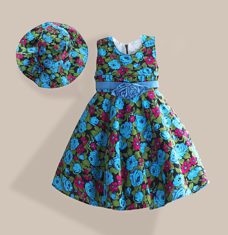 Blue Rose Floral 100% Cotton 3D Bow Party Wedding Children Girls Dresses with Cap Kids Clothes robe fille 3-7T bow floral girls dresses children