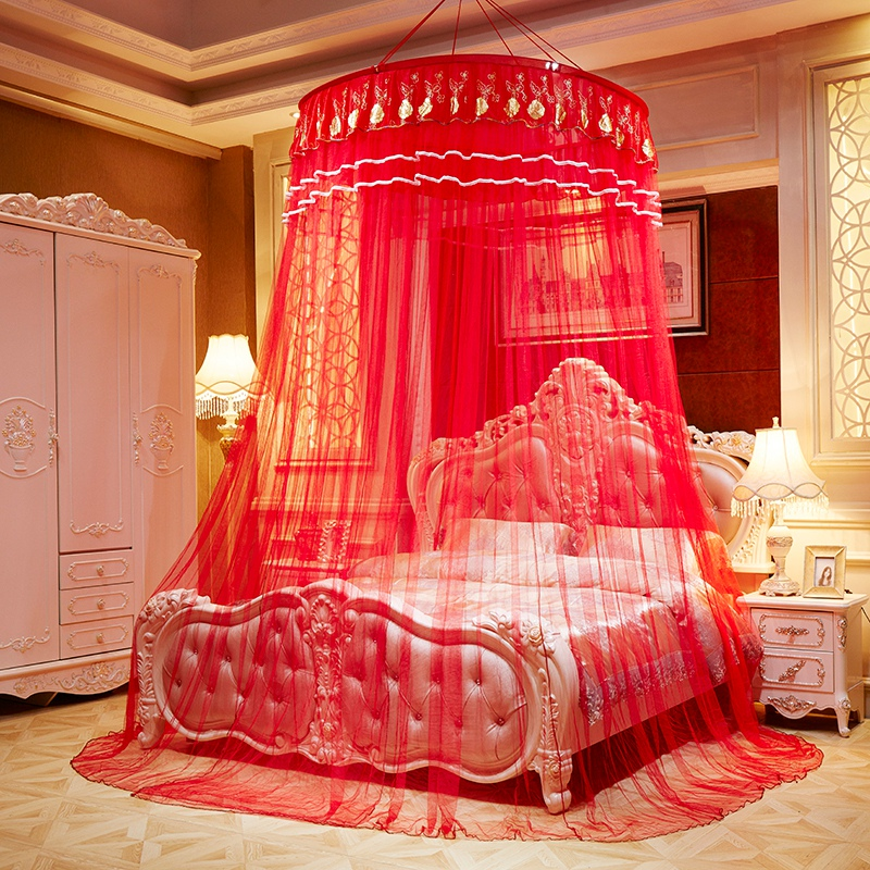 Chinese Red Romantic Mosquito Net for Honeymoon Princess Hanging Round Lace Bed Canopy Tent Folding Dome