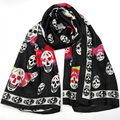 Spring summer lady sunscreen 180*90cm beach towel shawl dual-purpose classic Imitation silk skull scarf luxury brand scarves