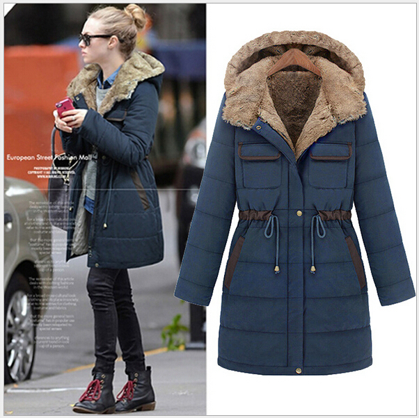 Navy Blue Women's Winter Hooded Jackets Long Anorak Army Green ...