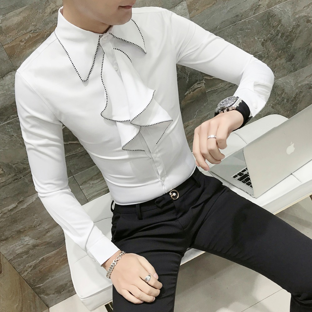 Domple Mens Long Sleeve Stylist Work Embroidery Casual Nightclub Button Down Shirts