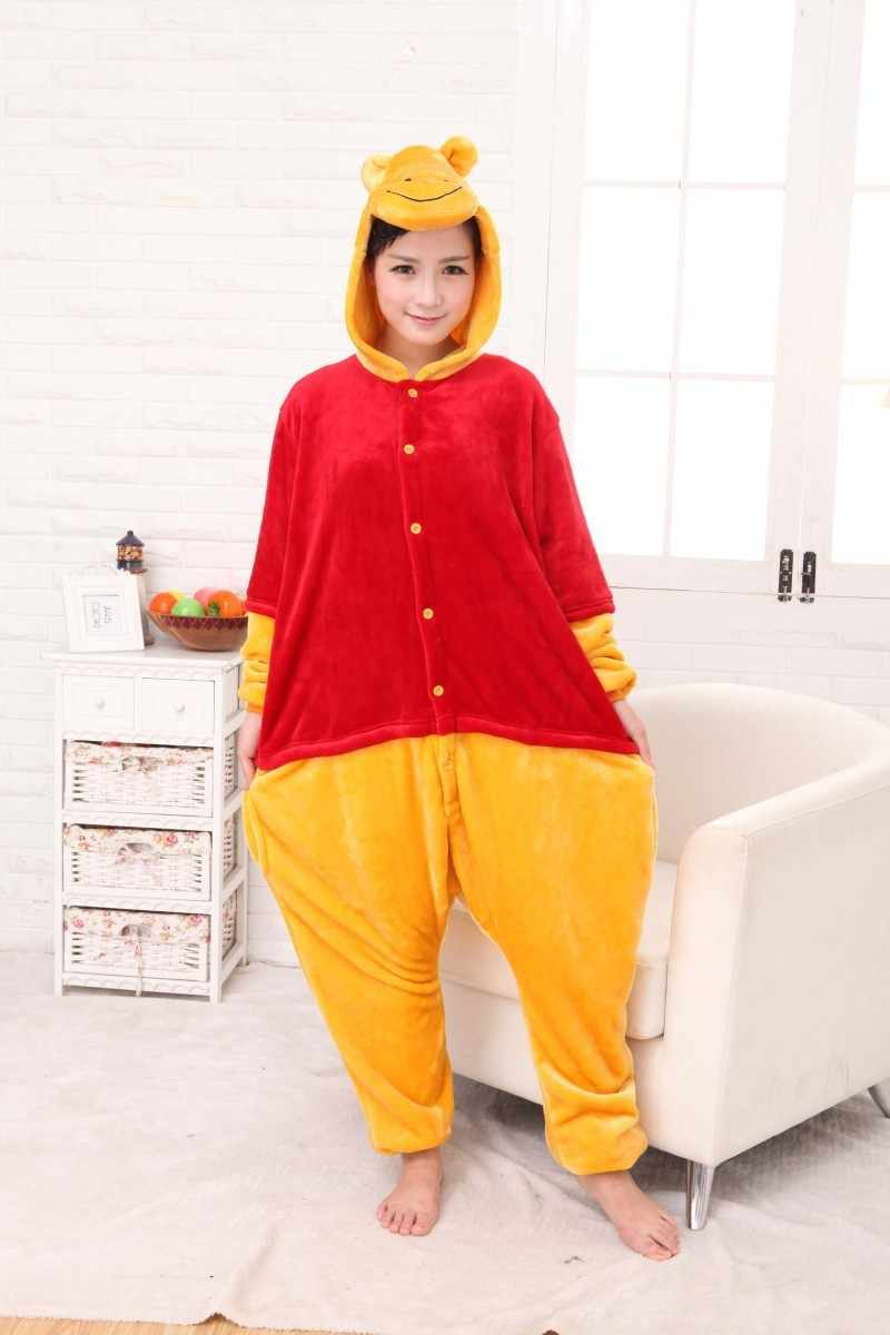 Winnie urso onesies animais pijamas adulto macacão pijamas traje dos desenhos animados cosplay pijama party dress halloween pijamas