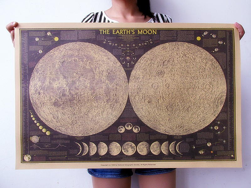 Retro Vintage Moon Map poster Home art posters Living Room decoration Picture 27.5*18.1inch Large size Wall Sticker