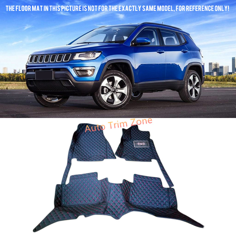 Interior Leather Black Floor Mats & Carpets For Jeep Compass 2017 black leather interior floor mats