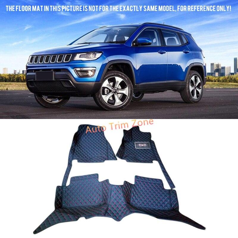 Tapis et tapis de sol en cuir noir pour Jeep boussole 2017