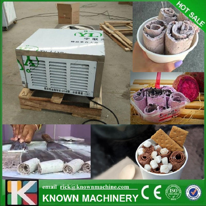 Newest!!! The CE ISO Certified Air-Cooling Fried Ice Cream Make Roll Machine With 4 Universal Wheels (free Shipping By Sea)