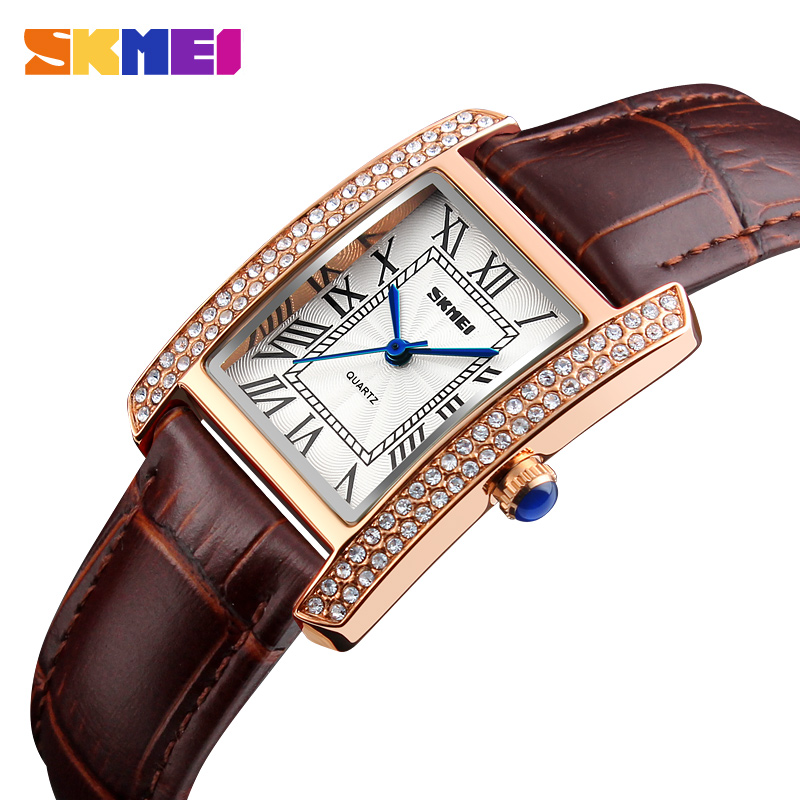 цена на Top Brand Skmei Women Watches Fashion Dress Quartz Clock Women Ladies Watch Girls Leather Strap Wristwatches relojes mujer 2017