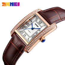 Top Brand Skmei Women Watches Fashion Dress Quartz Clock Women Ladies Watch Girls Leather Strap Wristwatches relojes mujer 2017