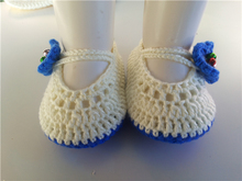 Crochet Knitt booties with blue flower Handmade Baby Socks infant Newborn Shoes/Toddler Shoes 0-12M customize