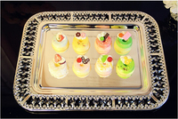 42 32 5cm Modern Rectangular Tray With Crystal Edge Silver Serving Tray Food Tray Decorative Fruit