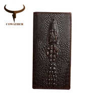 COWATHER Alligator veins cow genuine leather wallets for men high grade long male business luxury choice new free shipping eyu01
