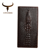 COWATHER Alligator veins cow genuine leather wallets for men high grade long male business luxury choice new free shipping