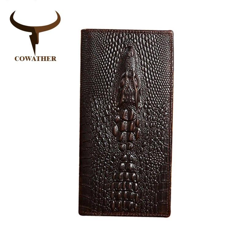COWATHER Alligator venen kuh echtes leder geldbörsen für männer high grade lang männlichen business luxus wahl neue freies verschiffen 1032