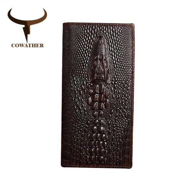 محافظ للرجال من جلد البقر الطبيعي بأوردة التمساح من COWATHER محافظ للرجال عالية الجودة طويلة وفاخرة للعمل منتجات جديدة للشحن مجانًا 1302