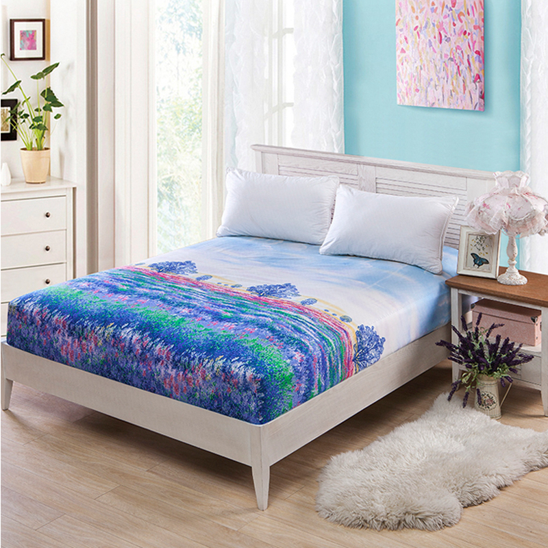 Mattress Protector Cover Good Chemical Fiber Floral Style Soft And Comfortable Bed Sheet Antibacterial Removable Mattress Cover
