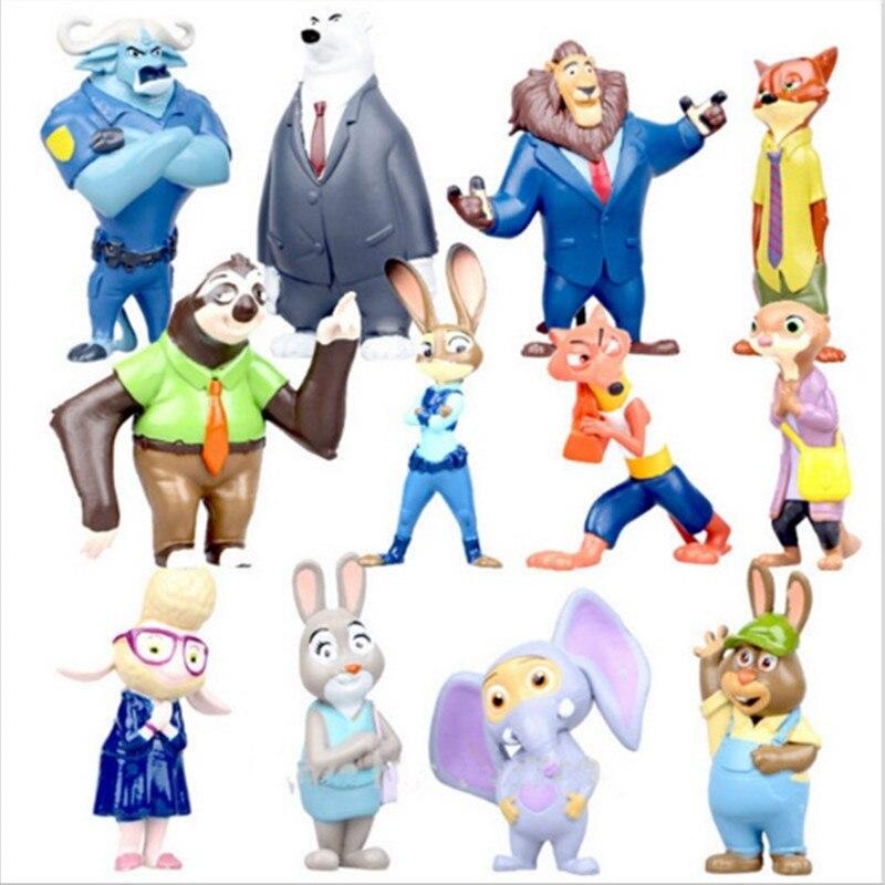 2016 12pcs/lot 4-7cm new Movie <font><b>Zootopia</b></font> <font><b>Cartoon</b></font> <font><b>Utopia</b></font> <font><b>Action</b></font> <font><b>Figure</b></font> Movie Pvc Mini Models Nick Fox Judy Rabbit Free shipping