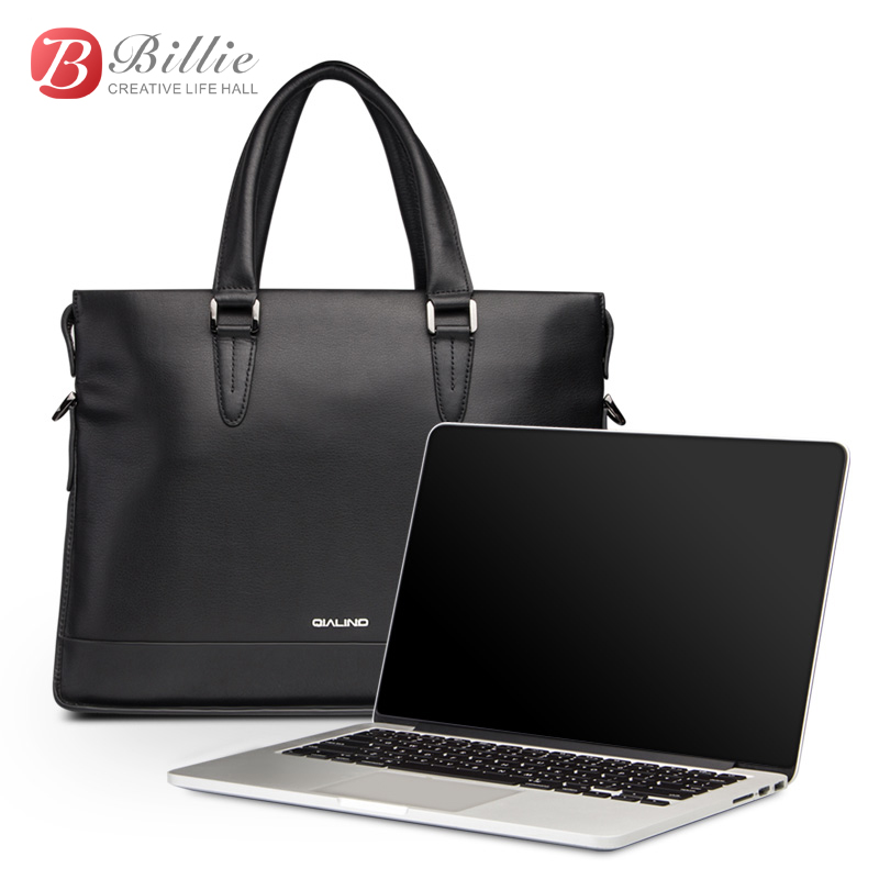 "Image 2 - Laptop bag case For Macbook Asus Dell 12""13""14"" Deluxe Genuine Men's Briefcase High Quality handbag computer bags Notebook bag-in Laptop Bags & Cases from Computer & Office"