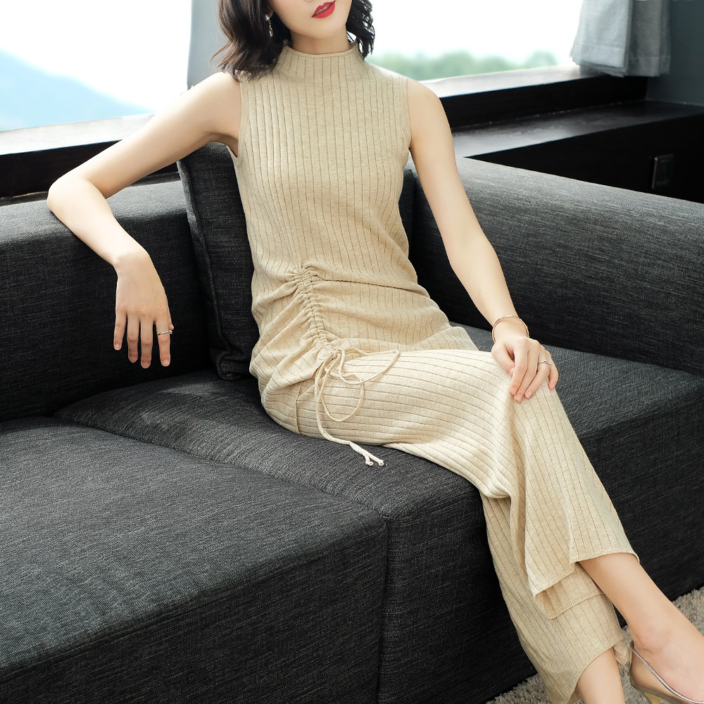 2018 New Autumn Solid Elastic Knit Long Sweater Cardigan And Turtleneck Vest Shirts And Loose Wide Leg Pants 3 Piece Pants Sutis