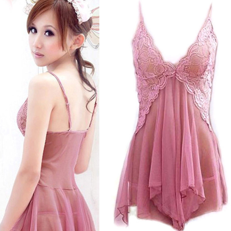2019 Hot Fashion Sexy Women's Lingerie Lace Mini Dress Bodysuit Sleepwear G String Kit Pink Female Sex Costume