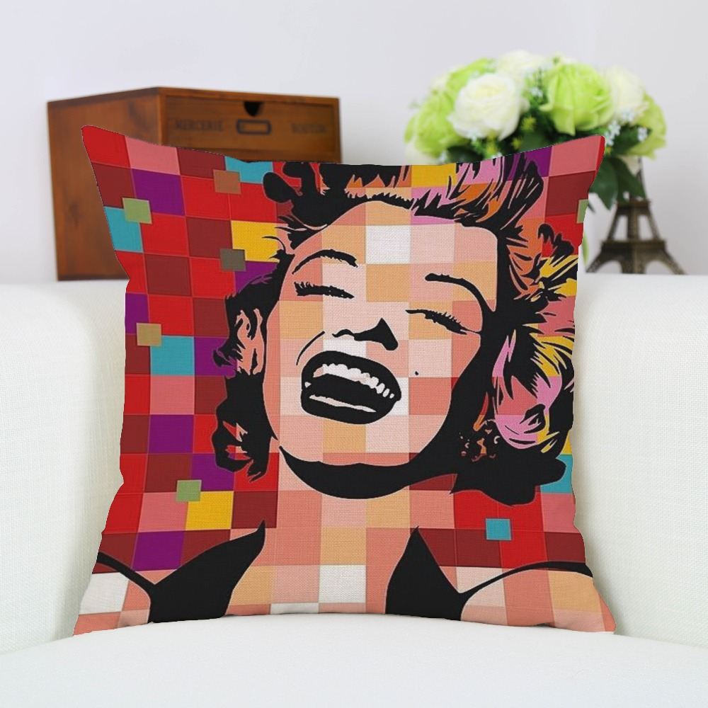 Marilyn monroe french chair - Pillow Case Marilyn Monroe Cotton Linen Car Sofa Chair Seat 18x18 Inches Square Cushion Covers New