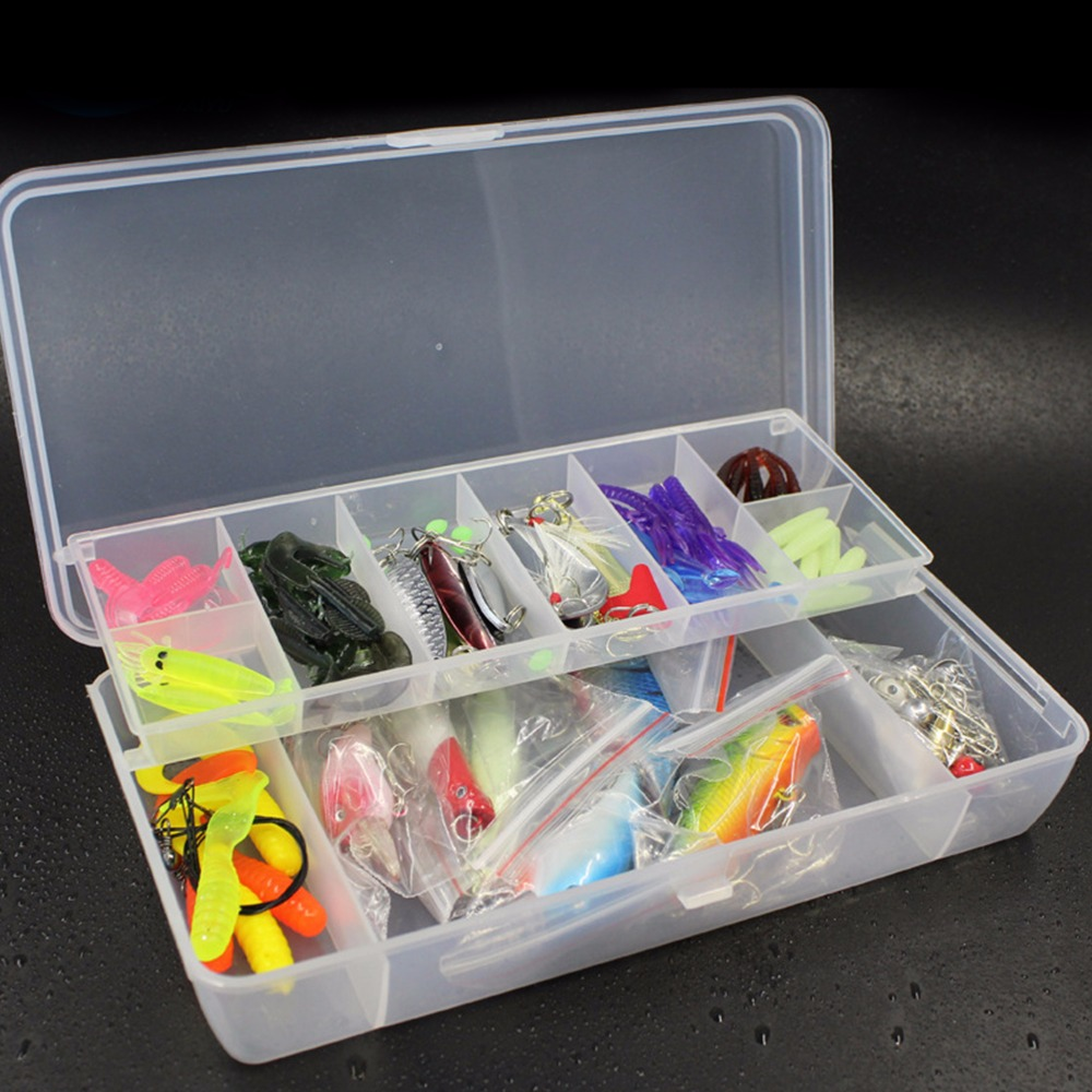 Fishing Lure Kit 100 pcs/Pack Minnow Popper Crank Spinner Metal Lure Spoon Swivel Soft Bait Set Combo Tackle Accessory Box 5 pcs hot sale top mouse mice lure fishing soft bait fishing tackle box accessory tool metal spoon fishhook
