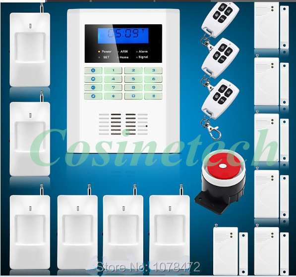 New Upgraded security Wireless 850/900/1800/1900MHz GSM PSTN home Alarm System with 6 PIR detector+6 door sensor,drop shipping free shipping 99 wireless zone and 2 wired quad band lcd home security pstn gsm alarm system 3 pet immune pirs 5 new door sensor