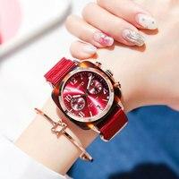 Gimto 2018 Sport Quartz Watches Women Rose Gold Black Waterproof Luxury Brand Female Clock Nylon Band Date Ladies Watch relogio