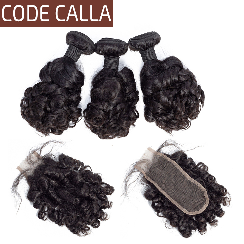 Code Calla Indian Bouncy Curly Human Hair Weave Bundles With Closure Non Remy Curly Hair 3 Bundles With 2X6 KIM K Lace Closure