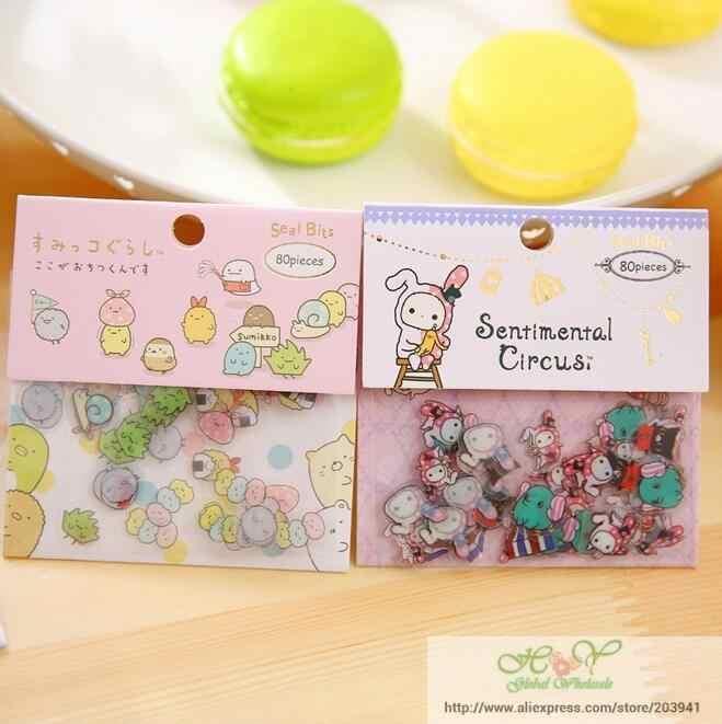 10packs/lot ZAKKA Japan Rilakkuma & his Circus Friends series sticker pack/students' Decoration label/stationery & gift