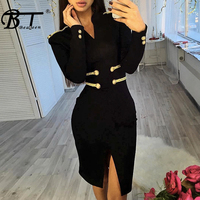Beateen Autumn Winter Bandage Dress New Arrival Black V Neck Sexy Clubwear Bodycon Long Sleeve Dress Knee Length Women Party