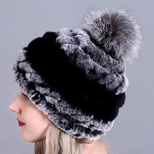 Image 5 - חורף פרווה כובע לנשים אמיתי רקס ארנב פרווה כובע עם שועל פרווה פום poms פרווה סרוג בימס 2018 חדש אופנה כובעים באיכות טובה