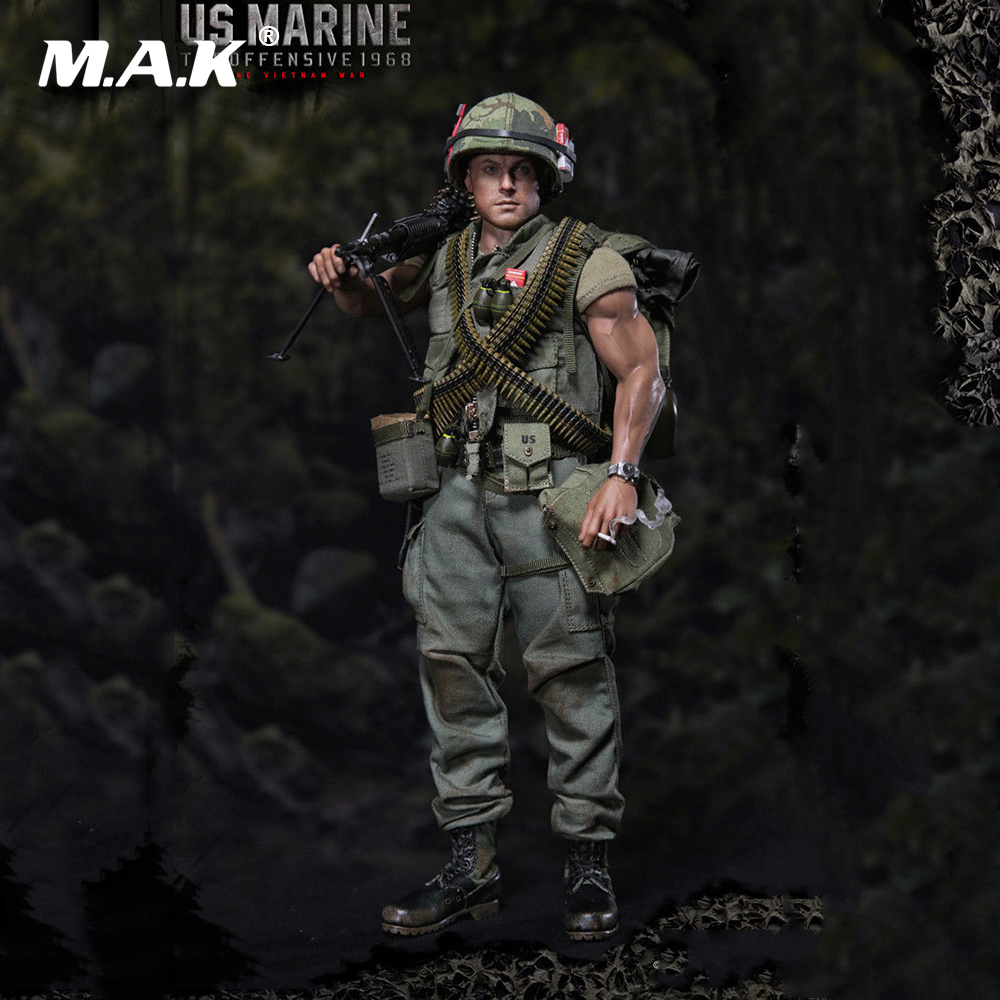1:6 Scale TET Offensive 1968 US Marine Vietnam War Figure Model with Accessories Set Colletible Model Toy Gift mtr marine 3 6 bms