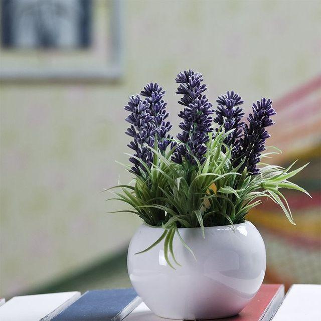 Aksesoris Rumah Bunga Simulasi Taman Meja Ruang Tamu Dekorasi Lavender Segar Gambar
