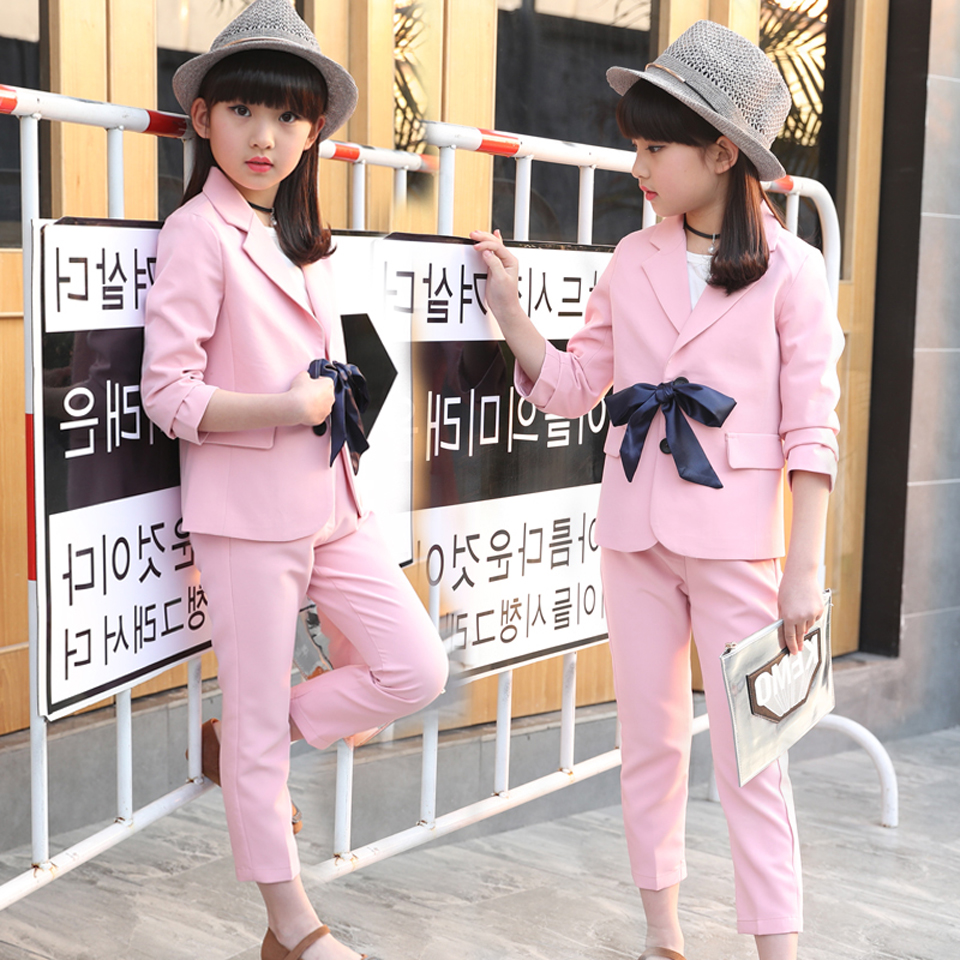 88f1a79e2aa93 2018 Autumn Children's Clothes Girls Suits Long Sleeve Pink Baby Girl  Formal Suits for Girls Big