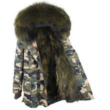 2017 Winter New Tuxedo Big Real Raccoon Fur Hooded And Lining Thick Coats Parkas Ladies Oversize Long Slim Camouflage Jackets