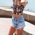 Mulheres da moda Denim Magro Shorts de Cintura Alta Borla Arranhado Buraco Jeans Curto Calças Quentes Bottoms