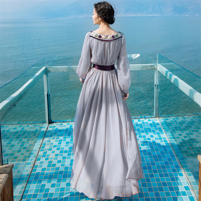 New High Quality Explosions Leisure Elegant embroidery Dresses  Women  lace spring summer Casual Shirt Dress 5