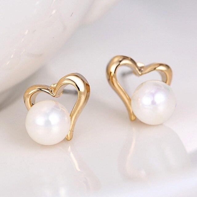 Elegant Fresh Water Pearl Earrings Cute Heart Love Shape Gold Silver Colour Stud For
