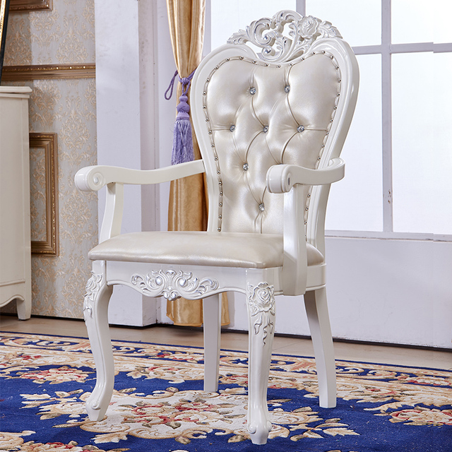european style wood chairs white leather armchair home study