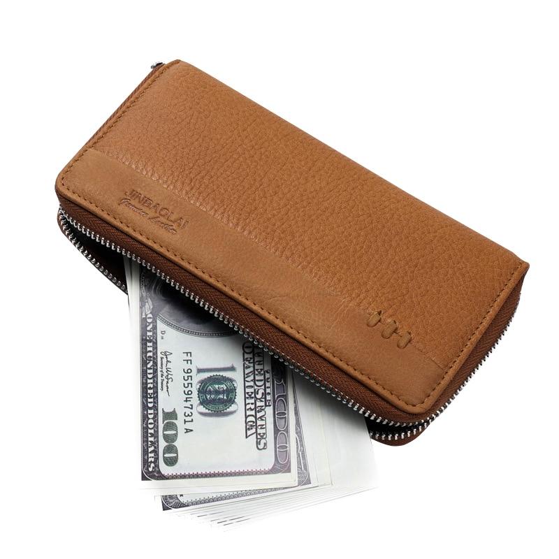 New Genuine Leather Men's Long Zipper Wallet Cowhide Casual Clutch Male Purse Card Holder Money Bag Carteira