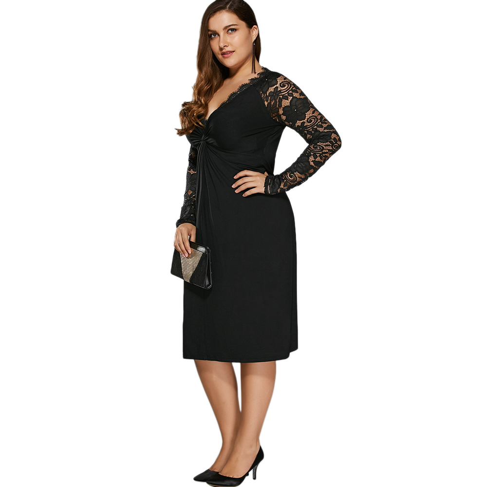 8a573f6633a Gamiss Women Black Holiday Formal Party Bodycon Sexy Dress Plus Size Twist  Front Lace Insert Fitted Dress Big Size XL 5XL-in Dresses from Women s  Clothing ...
