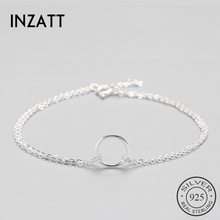 INZATT Trendy 925 Sterling Silver Circle Bracelet For Women Round Geometric Metal Chain OL Fine Jewelry Party Birthday Gift