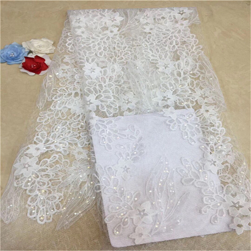 5 yards African French Lace fabric Nigerian tulle garment cloth white sequins Better Quality than similar